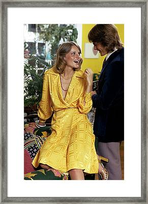 Model Wearing A Yellow Dress Framed Print by William Connors