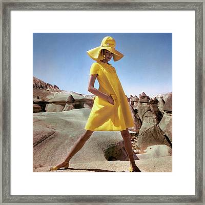 Model Wearing A Yellow Smock By Hannah Troy Framed Print