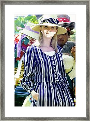 Model Wearing An Emme Hat Framed Print