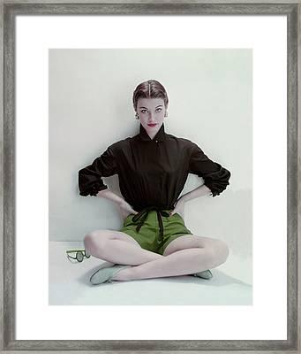 Model Wearing Black Blouse And Green Shorts Framed Print