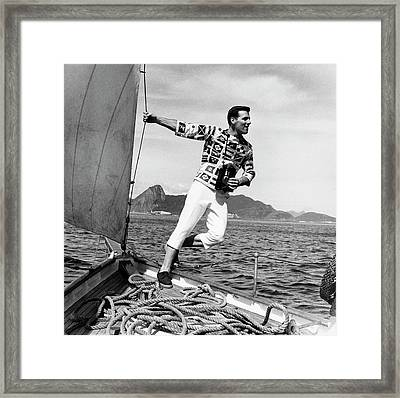 Model Wearing  Broadcloth Shirt Framed Print by Richard Waite