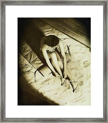 Model Wearing Miller Bathing Suit Framed Print by Anton Bruehl
