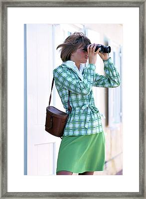 Model Wearing Plaid Jacket Holding Binoculars Framed Print by William Connors