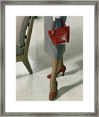 Model Wearing Red Pumps And Purse Framed Print