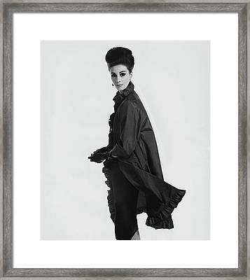 Model Wearing Ruffled Raincoat Framed Print