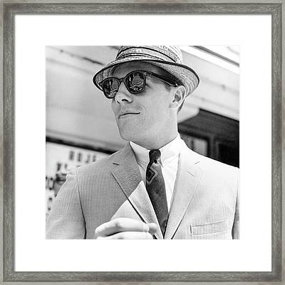 Model Wearing Sunglasses Framed Print