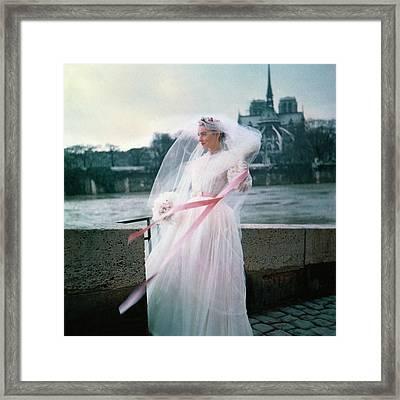 Model Wearing Wedding Dress In France Framed Print