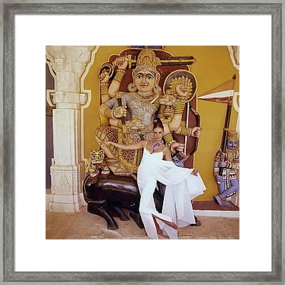 Model Wilhemena Wearing A White Cloque Dress Framed Print