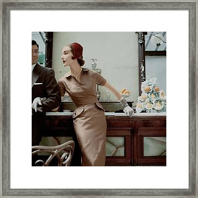 Model With Cigarette In Mollie Parnis Dress Framed Print