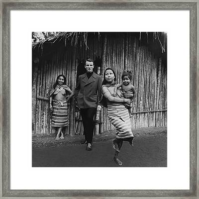 Model With Native American Women Framed Print by Leonard Nones