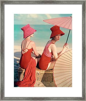 Models At A Beach Framed Print