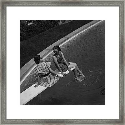 Models On A Diving Board Framed Print by Toni Frissell