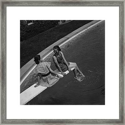 Models On A Diving Board Framed Print