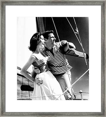 Models On A Sailboat Framed Print by Richard Waite