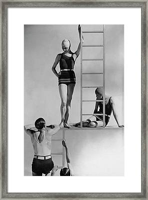 Models Wearing Bathing Suits Framed Print by George Hoyningen-Huene
