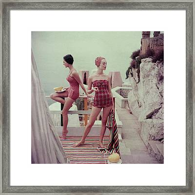 Models Wearing Bathing Suits In Palermo Framed Print by Henry Clarke