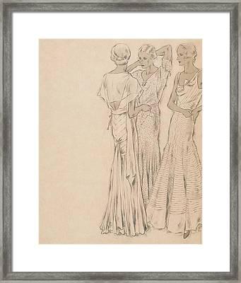 Models Wearing Chanel Evening Gowns Framed Print by Helen Dryden
