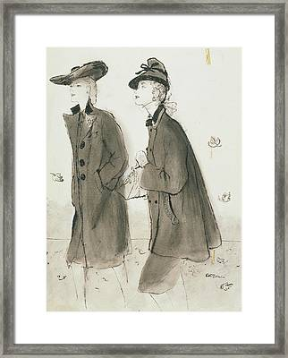Models Wearing Coats And Hats Framed Print by Ren? R. Bouch?