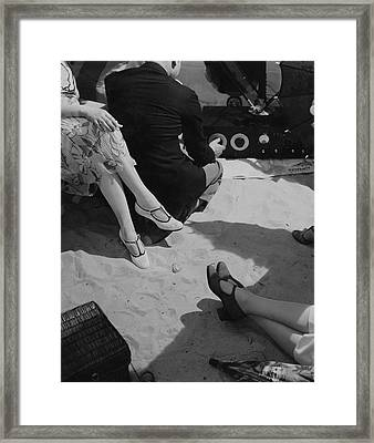 Models Wearing Crocheted Shoes Framed Print by Edward Steichen
