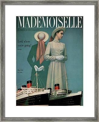 Models Wearing Duchess Royal Above Ships Framed Print by Herman Landshoff