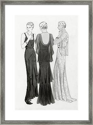 Models Wearing Evening Gowns Framed Print by Polly Tigue Francis