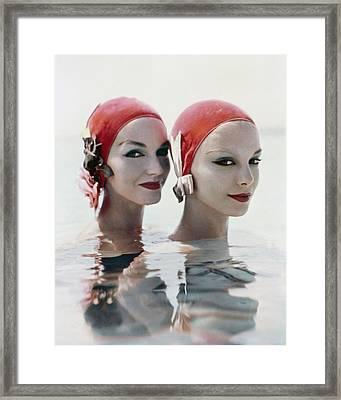 Models Wearing Pink Bathing Caps Framed Print