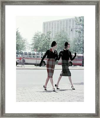 Models Wearing Plaid Skirts Framed Print by Sante Forlano