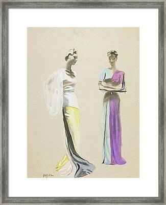 Models Wearing Satin Evening Gowns Framed Print by R.S. Grafstrom