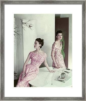 Models Wearing Silk Surah Dresses Framed Print