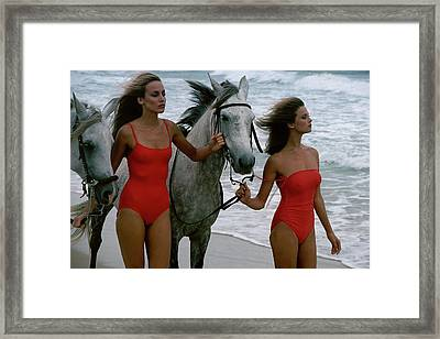 Models With Horses On A Beach Framed Print