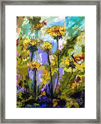 Modern Abstract Dandelion Flowers Framed Print