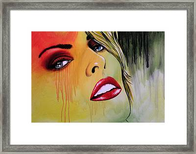 Modern Abstract Women Painting Art ... Tears I Cry Framed Print by Amy Giacomelli