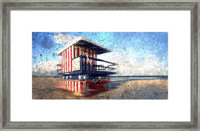 Modern-art Miami Beach Watchtower Framed Print by Melanie Viola
