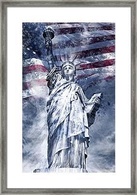 Modern Art Statue Of Liberty Blue Framed Print
