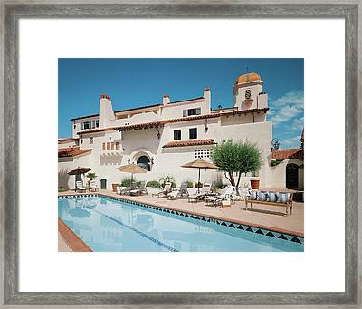 Modern Building With Pool Framed Print