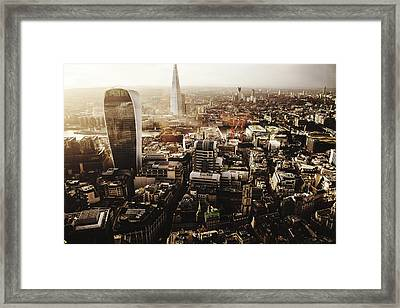 Modern Buildings Amidst Cityscape Framed Print by Lamarr Golding / Eyeem
