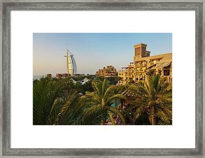 Modern Burj Al Arab Hotel Framed Print by Keren Su