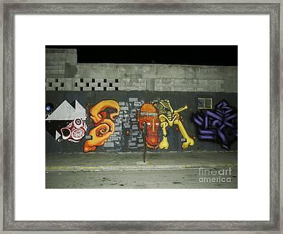 Modern Colorful Street Graffiti Urban Art Photography Framed Print