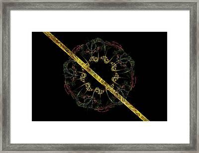 Modern Fractal Art Psychedelic Digital Image With Black Background Framed Print by Keith Webber Jr