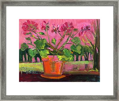 Modern Geranium In Pot On Deck Rail Framed Print by Betty Pieper