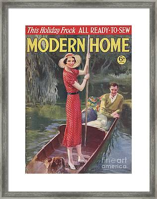 Modern Home 1930s Uk   Punting Boats Framed Print by The Advertising Archives