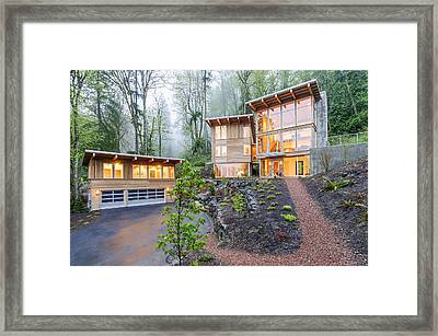 Modern House Illuminated In Woods Framed Print by Will Austin