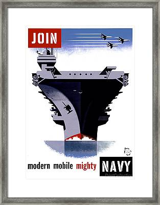 Modern Mobile Mighty Navy Framed Print by MotionAge Designs