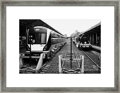 Modern Northern Ireland Railways Class 4000 Train And Steam Locomotive Train At Bangor Station Northern Ireland Framed Print by Joe Fox