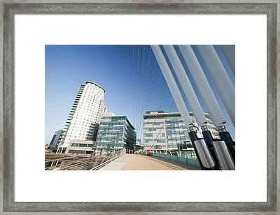 Modern Pedestrian Suspension Bridge Framed Print by Ashley Cooper