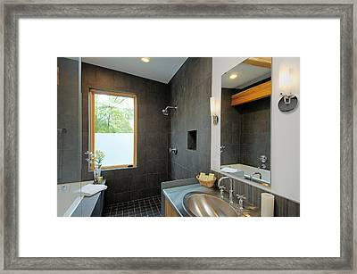 Modern Shower And Sink Framed Print by Will Austin