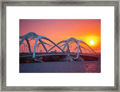 Modern Steel Bridge Over The Ij Meer Framed Print by Ashley Cooper