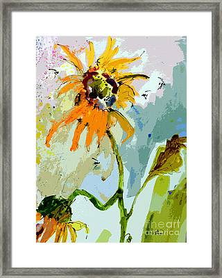 Modern Sunflowers And Bees Art Framed Print