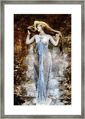 Modern Vintage Lady In Blue Framed Print
