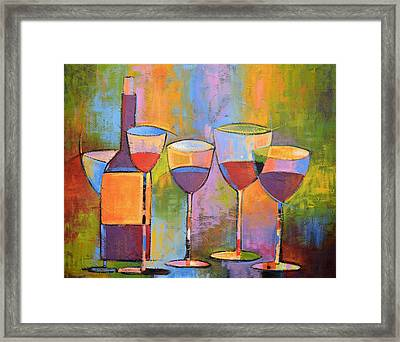 Modern Wine Art ... Wine Party Framed Print by Amy Giacomelli